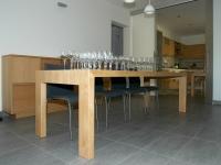 tavolo legno rovere con strato nobile mm 4 verniciatura acqua natur